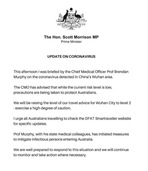 澳洲总理莫里森公开回应武汉肺炎:已升高危险等级