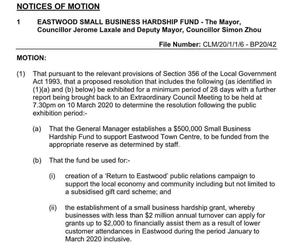 应对冠状病毒危机,莱德市拨款50万助复兴Eastwood商业