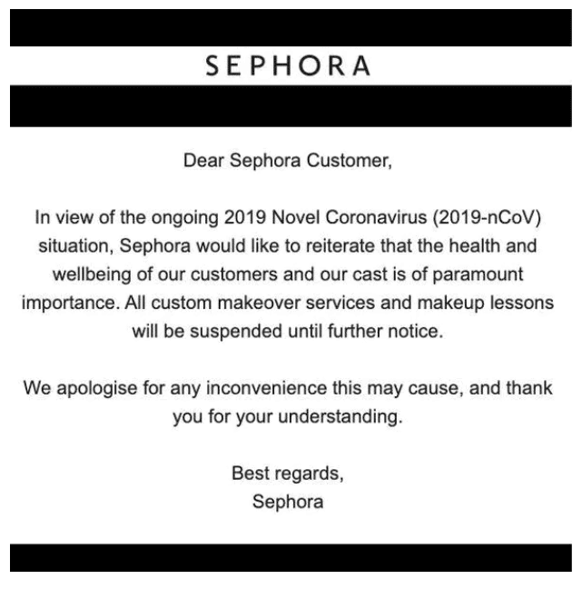 忧新冠病毒恐传染 美妆保养巨头Sephora取消门店试妆服务