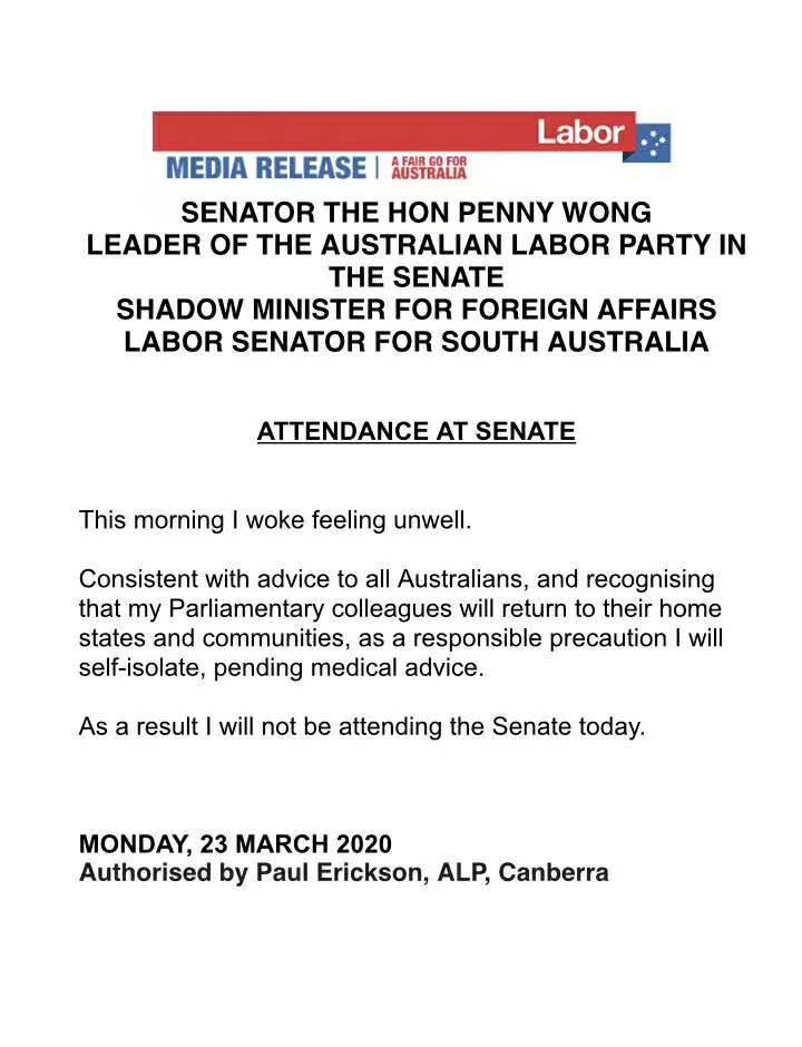 突发! 工党参议院领袖黄英贤(Penny Wong)身体不适,等待医生建议