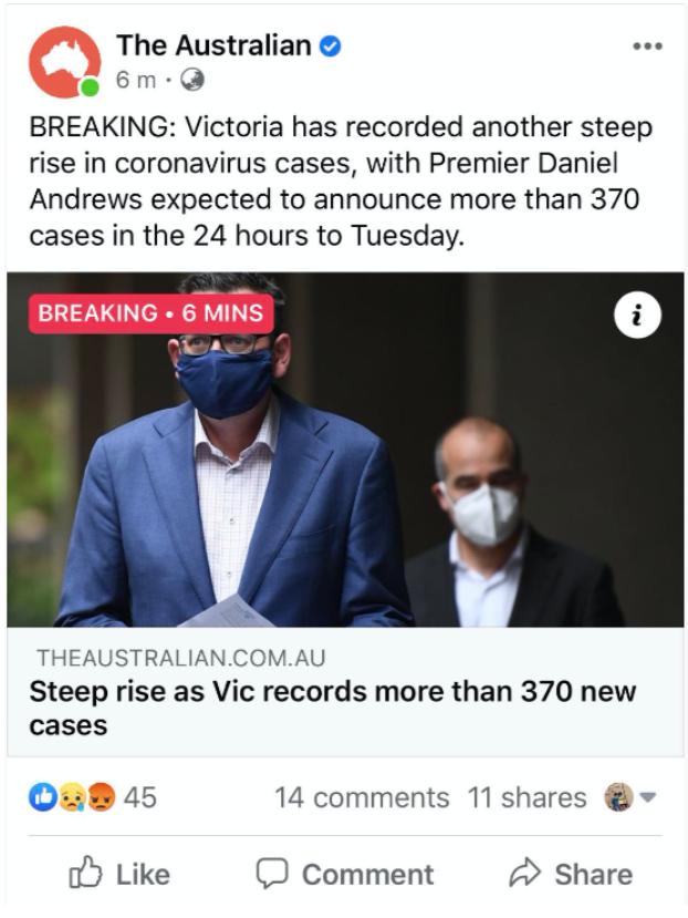 【墨尔本疫情】死亡人数再度创下新高!维州新增322起病例18死!Greater Shepparton中学出现ㄧ名阳性病例,Wanganui校区关闭!