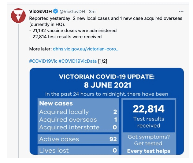 【澳洲疫情】维州第一剂辉瑞疫苗紧急暂停!本土病例0新增,择期手术恢复! 新州昆州本地零新增