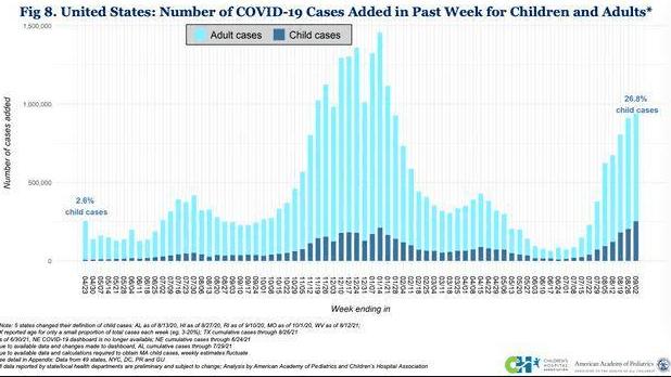 八月的最后一周,美国百万人感染了新冠,其中四分之一是儿童